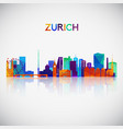 zurich skyline silhouette in colorful geometric vector image vector image