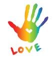 bright colorful handprint vector image