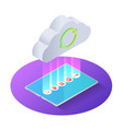 3d isometric tablet pc uploading file to cloud vector image