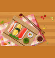 aerial view of sushi vector image