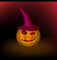 an evil pumpkin in a hat for a halloween holiday vector image vector image