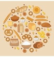 Bakery products icon set in a round shape Flat vector image