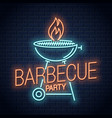 barbecue grill neon logo bbq with flame neon sign vector image vector image