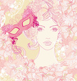 beautiful woman with carnival mask abstract floral vector image