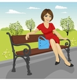 beautiful young model sitting on a bench vector image vector image