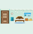 bedroom interior flat design relax that have door vector image
