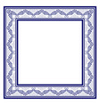blue square frame in the traditional style of vector image vector image
