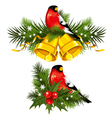 bullfinch with christmas bells vector image vector image