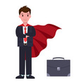 businessman in suit and red cloak with suitcase vector image