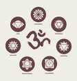 Chakra icon set elements and om calligraphy vector image vector image