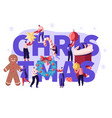 christmas season concept with tiny people vector image vector image
