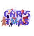 christmas season concept with tiny people vector image vector image