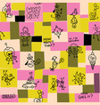 collage cartoon doodle seamless pattern vector image vector image