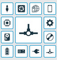 computer icons set collection of connector chip vector image vector image