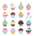 cute cupcakes set isolated on white vector image vector image