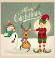 cute elf with snowman and reindeer christmas card vector image