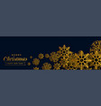 dark christmas banner with golden snowflakes vector image vector image