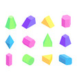 different shape prism collection on white backdrop vector image vector image