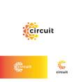 digital stylized circuit board logo set vector image