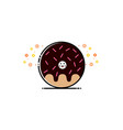 donut chocolate mbe style logo vector image vector image