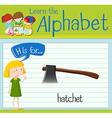 Flashcard letter H is for hatchet vector image vector image