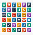 Flat alphabet rounded Isolated on white vector image