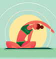 Girl sitting in yoga lotus pose and tilts left vector image