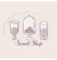 Hand drawn candy bar objects Pastry shop label vector image vector image