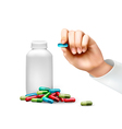 Hand holding a pill and a bottle of pills vector image vector image