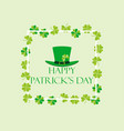 happy st patricks frame with leprechaun hat vector image