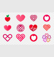 heart logos set abstract icons vector image