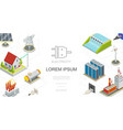 isometric electricity and energy concept vector image vector image