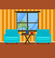 living room interior with armchairs vector image vector image