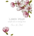 magnolia beautiful card watercolor round vector image