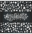 merry christmas cardicons silhouettechalkboard vector image vector image