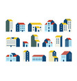 minimal flat houses simple geometric buildings vector image