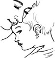 mom and son close-up faces drawing vector image