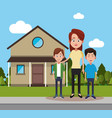 mother with son and friend house vector image