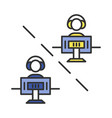 multiplayer video game color icon vector image vector image