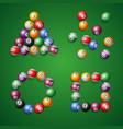 realistic detailed 3d billiard ball set vector image vector image