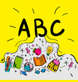 school begginnings abc letters doodle style on vector image