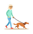 senior woman walking with dog healthy active vector image vector image
