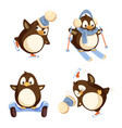 set of pinguins winter activities isolated vector image vector image