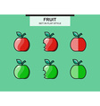 Set of red and green apples in a flat style vector image vector image