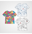 Set of three t-shirts with abstract funny monsters vector image