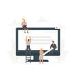 small office people building website with blocks vector image