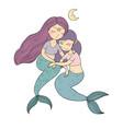 two cute cartoon princess mermaids siren marine vector image