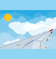 view of wing of aircraft in sky vector image vector image