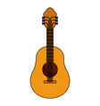 white background with acoustic guitar with thick vector image vector image