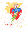 Woman heart flies with flowers in their hands vector image